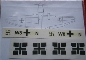 Dinky Toys 721 Stuka Crosses & Squadron Markings W8 & LN complete set with placement instructions TRANSFERS / DECALS