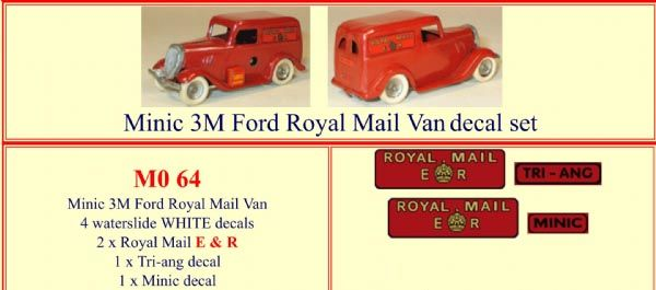 "M064 Tri-ang ( Triang ) Minic 3M Ford "" Royal Mail E R "" decal set"