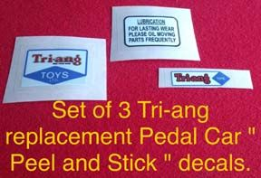 "Set decals "" Peel and stick "" 3 Tri-ang ( Triang ) pedal car decals suitable for various models"